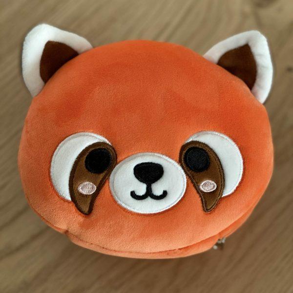 Almohadilla de viaje para niños con antifaz de panda rojo