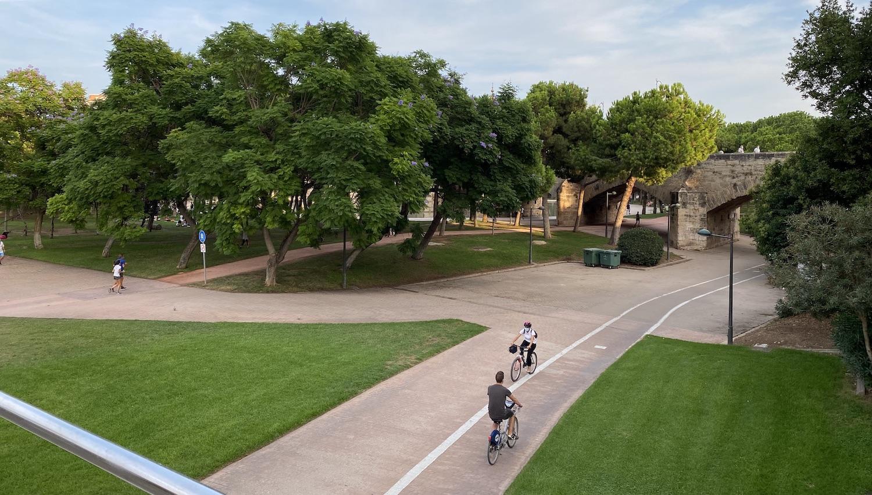Carril bici y árboles en el interior en el Jardín del Turia de Valencia