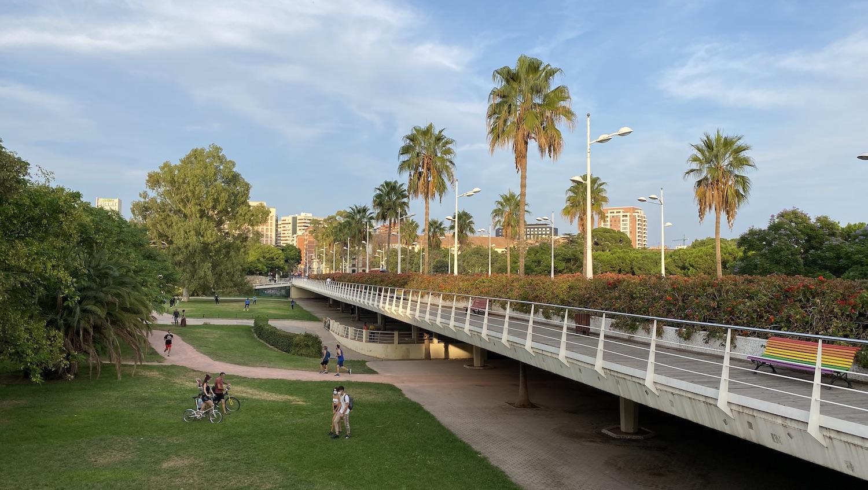 Vista del Puente de las Flores en el cauce del Turia Valencia