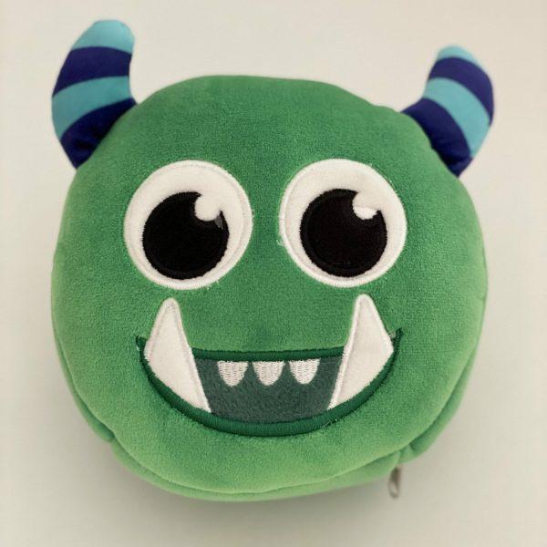 Almohadilla de viaje para niños con antifaz diseño monstruo verde