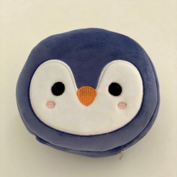 Almohadilla infantil de viaje con antifaz diseño pingüino